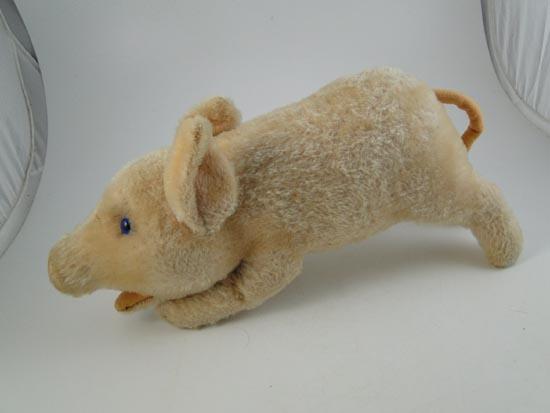 vintage mohair straw stuffed pig piglet animal german steiff 14 long large toy. Black Bedroom Furniture Sets. Home Design Ideas