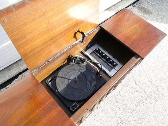 Vintage Sears Silvertone Record Player Turntable Console ...